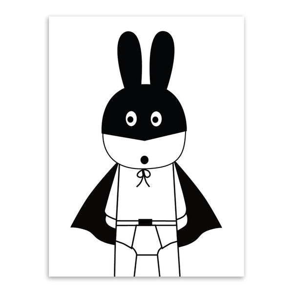 Minimalist Nordic Black White Kawaii Animals A4 Art Prints Poster Nursery Wall Picture Canvas Painting Kids Room Decor No Frame