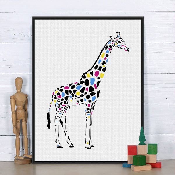 Modern Minimalist Colorful Giraffe Black White Animal Canvas A4 Art Print Poster Wall Picture Kids Room Decor Painting No Frame
