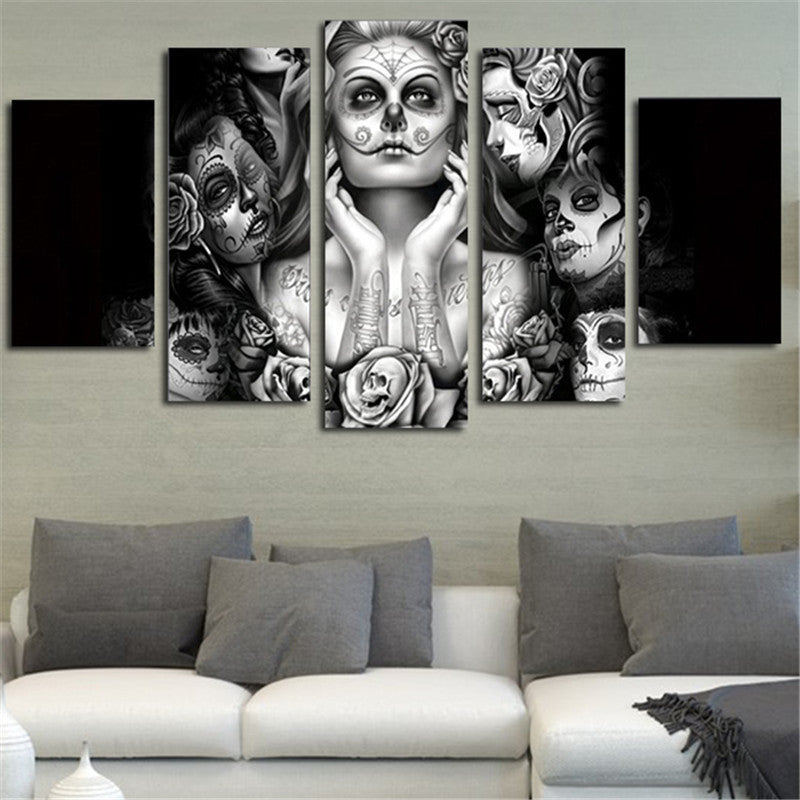 2016 Wall Art Day Of The Dead Face Painting On Canvas Pictures Modular Modern Paintings Prints Room Decora For Living Room