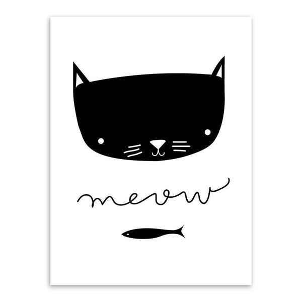 Kawaii Animals Art Print Poster Modern Nordic Mini Cute Nursery Wall Pictures Kids Baby Room Home Decor Canvas Painting No Frame