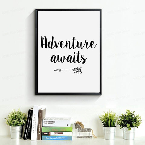 Adventure Awaits Printable Art, Arrow Print, Motivational Quote Canvas Art Poster By Numbers Wall Pictures Home Decor No Frame