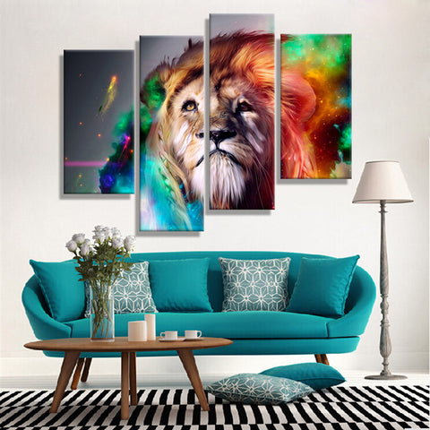 Oil Paintings Canvas Cheap Abstract Lion Colorful Animals Wall Art Home Decor Pictures Wall Pictures For Living Room (4PCS)