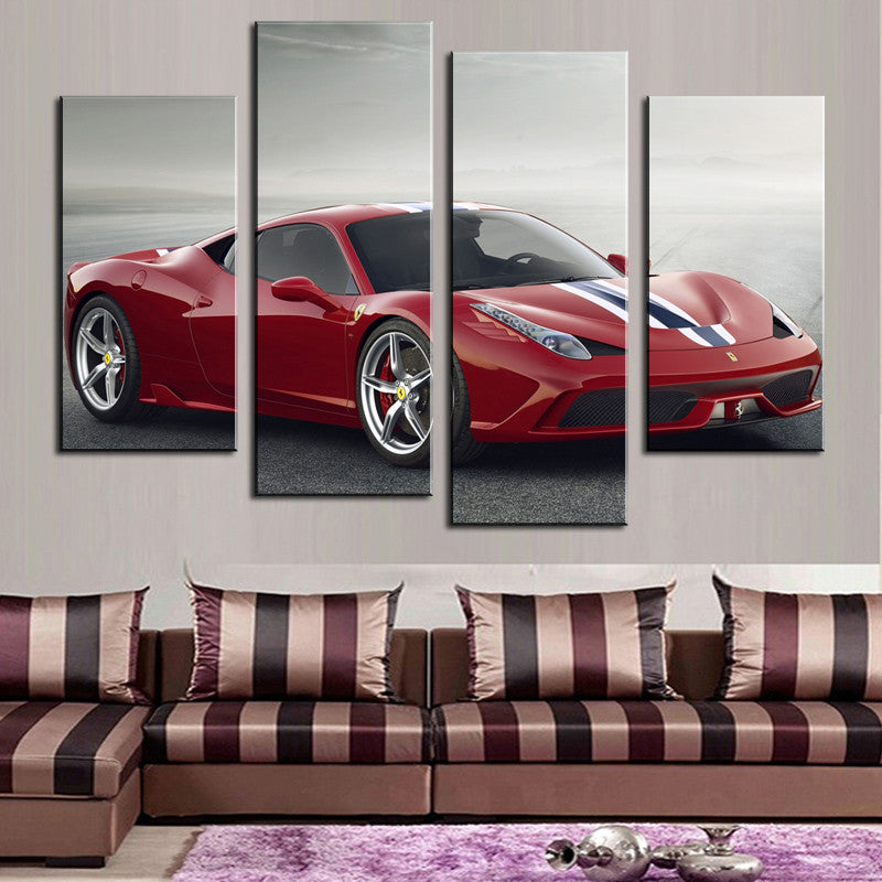 4 Pcs(No Frame) Red  Sports Car Wall Art Picture Home Decoration Living Room Canvas Print Painting Wall picture on canvas