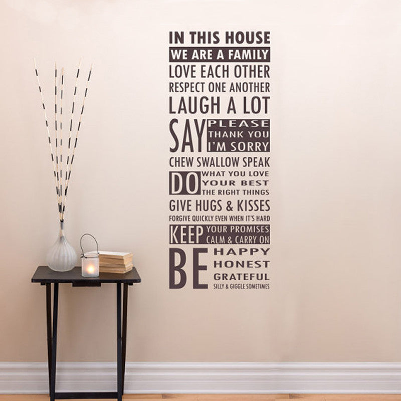 in this house we are a family removable vinyl wall art words, family