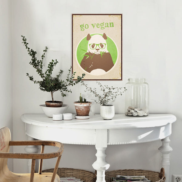 Vintage Retro Vegetarian Panda Animal Motivational Quotes Art Print Poster Wall Picture Canvas Painting Kitchen Decor No Frame