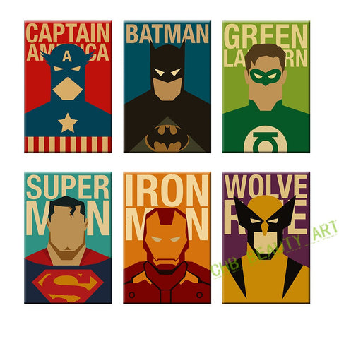 6 Piece Superhero Canvas Painting Modern Home Wall Decor Art HD Print Pictures For