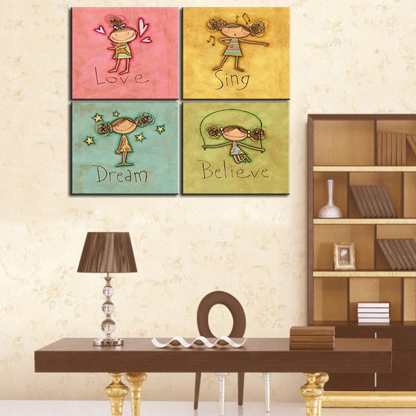 4PCS Canvas painting Oil Painting 4 pieces/set Modern cartoon animals wall pictures kids room wall photo decor No Frame