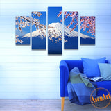 5 Panel Fujiyama Snow Mountain Sakura Japan Landscape Picture Painting Canvas Print Home Decoration Picture for Living Room