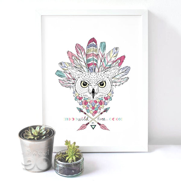 Native American Canvas Art Print Painting Poster, Owl Wall Picture for Home Decoration, Wall Decor DE002
