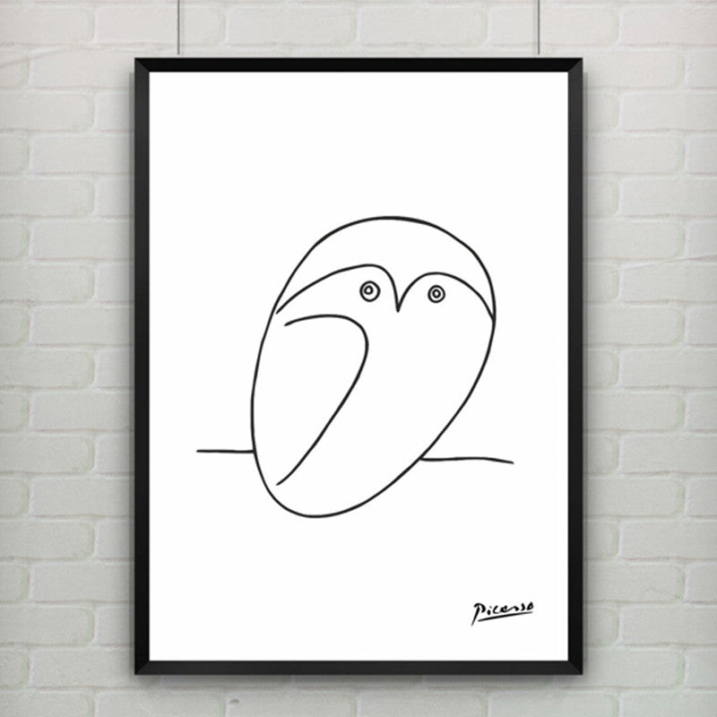 Pablo Picasso The Owl Print Canvas Abstract Animals Minimalist Wall Art Kids Room Bar Office, Home Decor, frame not included