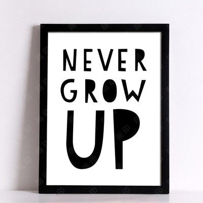 never grow up sticker Posters decorative wall painting Canvas Art Print Wall Pictures Home Decoration Frame not include v131