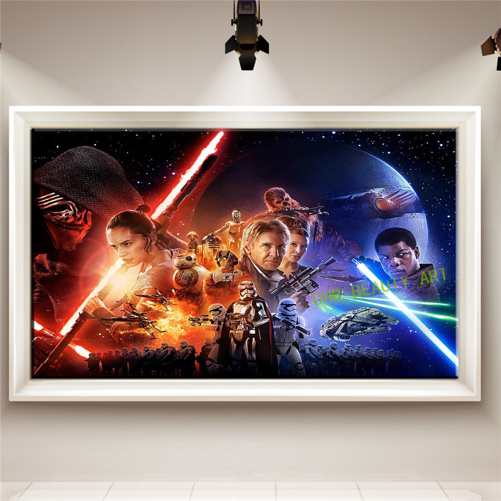 Canvas Painting Star Wars Episode The Force Awakens Poster Prints Pop Movie Film Hipster Canvas Painting Bedroom Wall Art Gift