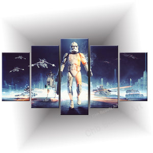 5 Piece Printed star wars canvas art modern painting room decoration print poster wall pictures for living room
