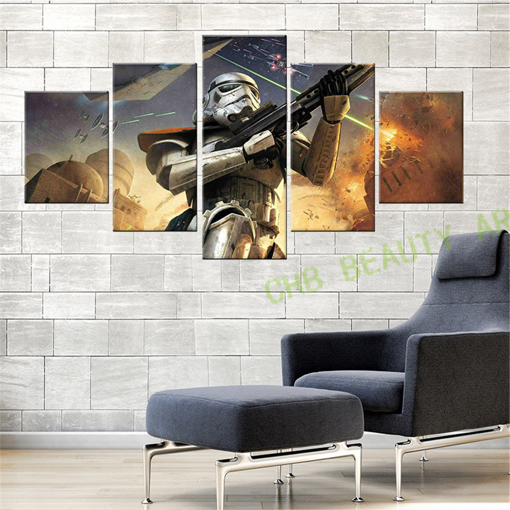 5 Panel Modern Canvas Painting Star Wars Wall Art The