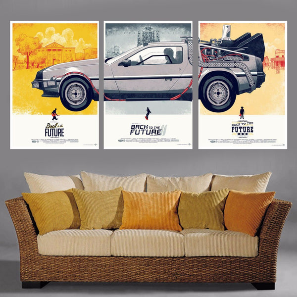 3 Panel back to the future print canvas painting modern wall art canvas picture art painting for living room unframed
