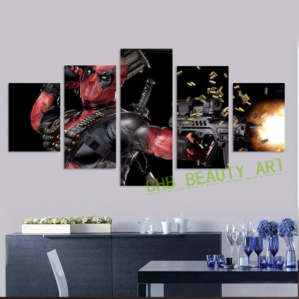 Printed deadpool mask gun automatic Painting Canvas Print room decor print poster picture canvas unframed