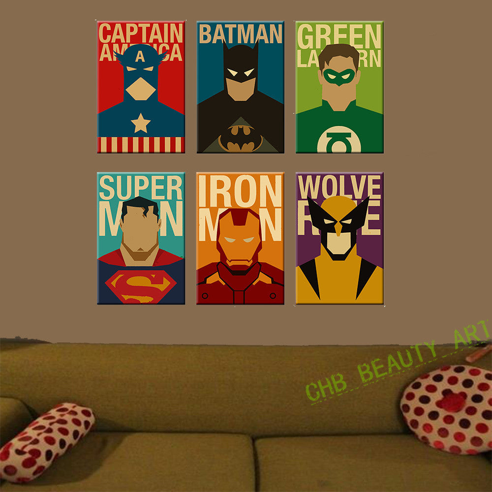 6 Piece Superhero Canvas Painting Modern Home Wall Decor Canvas Art HD Print Wall Pictures For Child Bedroom Unframed