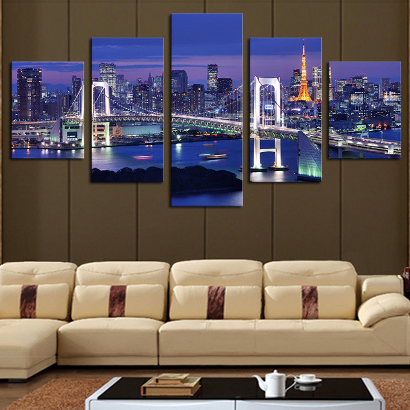 5 Panels(No Frame) Hot Sell Cross The Sea Bridges Picture Modern Wall Decor Print on Canvas Oil Painting Canvas Painting