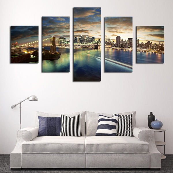 The Beauty Of The City Night Scene, 5 Panels Large HD Top-rated Canvas Print Painting for Living Room, Wall Art Picture Gift