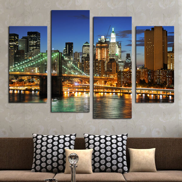 4 Panels(No Frame) City Bridge Painting Canvas Wall Art Picture Home Decoration Living Room Canvas Printing,canvas painting
