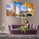 4 Pcs (No Frame)  Classical Building Landscape Wall Art Picture Home Decoration For Living Room Canvas Print Painting