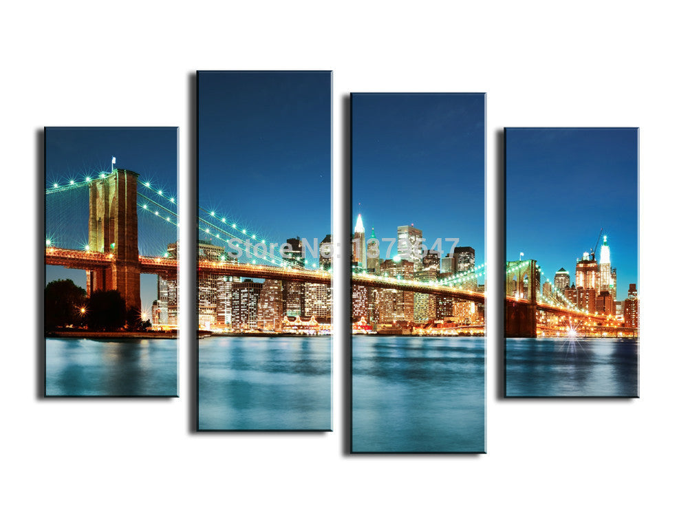 4 Panels Painting  minimalist living room bedroom modern home decoration Dazzling Bridge oil painting prints