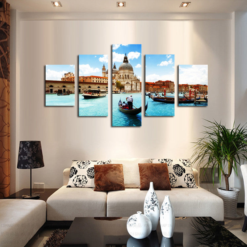(No Frame)5 Piece Water City Modern Home Wall Decor Canvas Picture Art HD