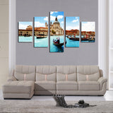 (No Frame)5 Piece Water City Modern Home Wall Decor Canvas picture Art HD Print Painting Canvas art Unframed