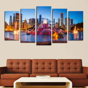 5 panels(No Frame) Modern City Scenery Home Wall Decor Painting Canvas Art HD Print Painting Canvas Wall Picture for Living Room