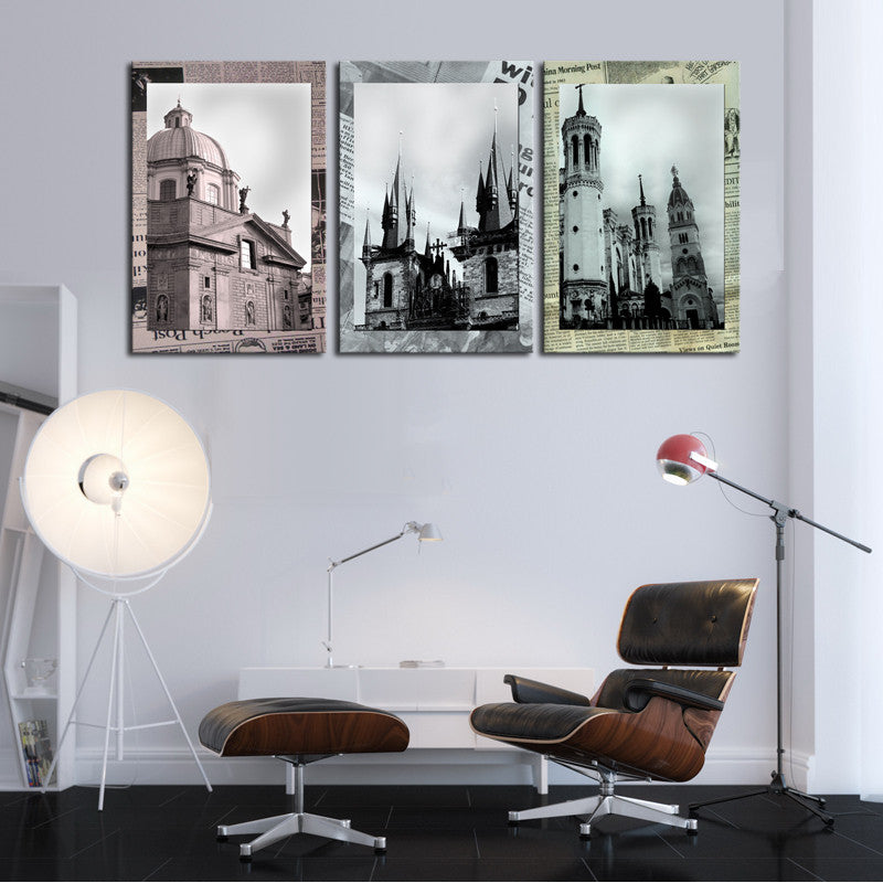 Unframed 3 sets Classical Architecture Painting Art Cheap HD Picture Home Decor On Canvas Modern Wall Prints Artworks