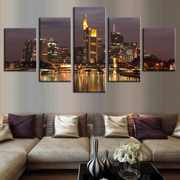 5 Pcs(No Frame) HD Beautiful City Building Canvas Print Painting Wall Art Picture Home Decoration Painting Wall Painting Canvas