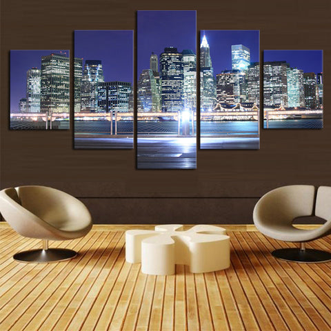 5 Pcs Large HD Beautiful City Building Canvas Print Painting  Wall Art Picture Gift,Home Decoration PAINTING  for Living Room