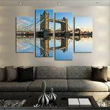 4 Pcs (No Frame) Classical Bridge Landscape Wall Art Picture Home Decoration For Living Room Canvas Print Painting Artwork