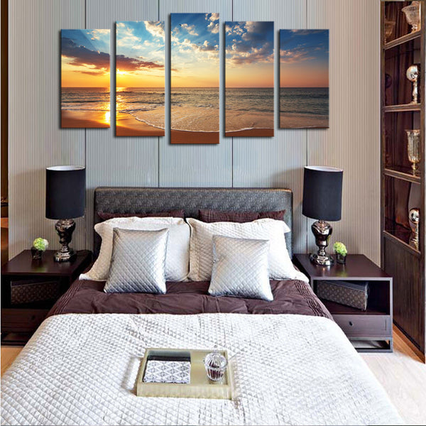 5 panels(No Frame) Seaview Modern Home Wall Decor Painting Canvas Art HD Print Painting Canvas Picture For Home Decor
