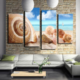 4 Pcs (No Frame) Of Wall Art  Seaview Sea Shells Modern Fashion Picture Print On Canvas Painting, Oil Paintings ,Home Decoration