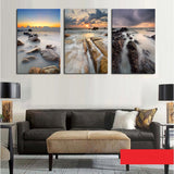 Unframed 3 sets Canvas Painting Stone Seaview Art Cheap Picture Home Decor On Canvas Modern Wall Prints Artworks
