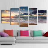 Unframed 5 Piece Blue sea and Golden Sun Modern Home Wall Decor Canvas Picture Art HD Print Painting On Canvas for Gift