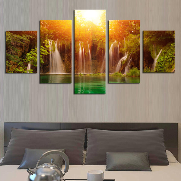 S426 Waterfall among Yellow Sun and Green Lake, Large HD Top-rated Canvas Print Painting for Living Room, Wall Art Picture Gift