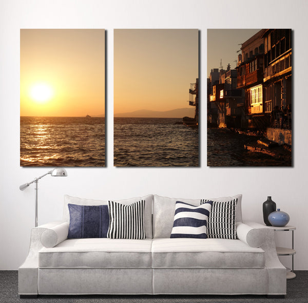 3 panels Hot Sell Beautiful Seaview Room  Modern Home Wall Decor painting Canvas printing Art Large HD printing Painting