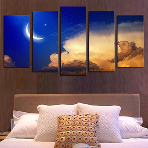 Unframed 5 panels Abstract Blue Sky Moon Cloud landscape Art HD Picture Print On Canvas Painting  Wall Picture For Home Decor