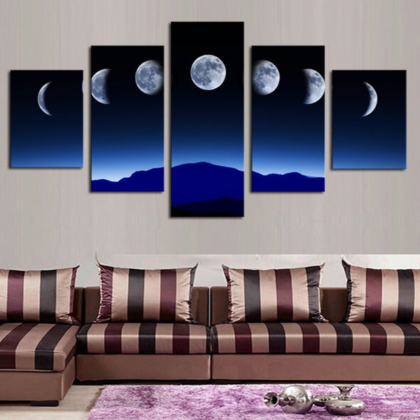 Unframed 5 Panels Abstract Blue Sky Moon Wall Art HD Picture Print On Canvas Painting For Home Decor