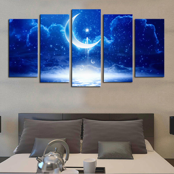 5 panels(No Frame) HD Dream Moon Partly cloudy  Wall Art Picrue Print Painting For Home Decor
