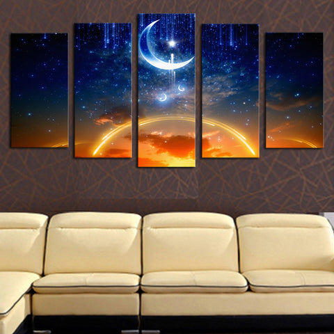 Unframed 5 panels Abstract Moon Planet  landscape Art HD Picture Print On Canvas Painting  Wall Picture For Home Decor