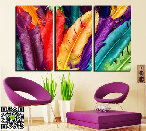 3 PANELS NEW ARRIVAL  HOME DECORATION MODERN CANVAS WALL ART PRINT FRESH COLORED FEATHERS OIL PAINTING PICTURES PAINTING