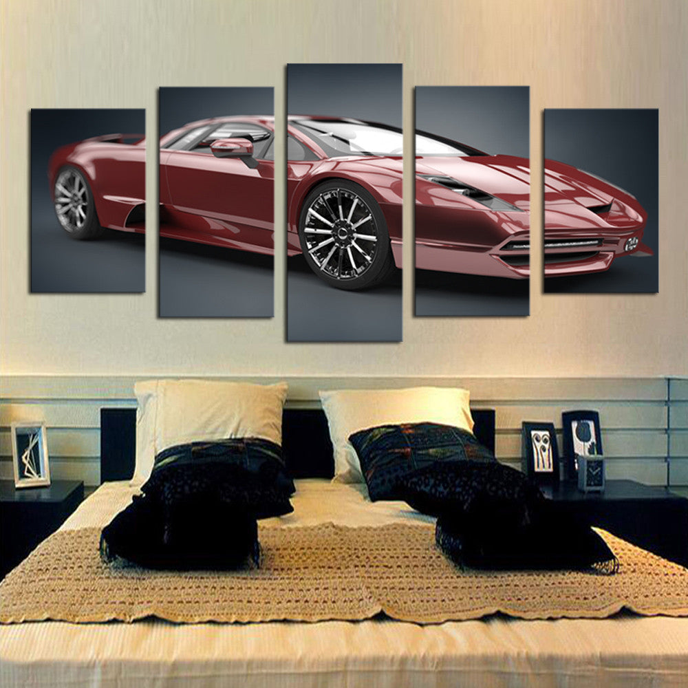 Unframed 5 Piece Red Car  Modern Home Wall Decor Canvas Picture Art HD Print Painting On Canvas for Gift