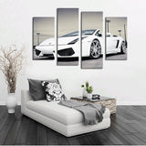 4 Pcs (No Frame)White Sports Car Wall Art painting Home Decoration Living Room Canvas Print Painting on canvas Wall picture