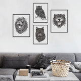 Modern Abstract Black White Animal Head Lion Tiger Art Print Poster Wall Picture Canvas Painting No Frame Home Living Room Decor