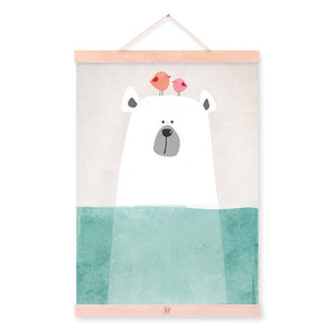 Nordic Minimalist Bear Animal Kawaii Cartoon Wooden Framed Canvas Painting Wall Art Print Picture Poster Hanger Kids Room Deco
