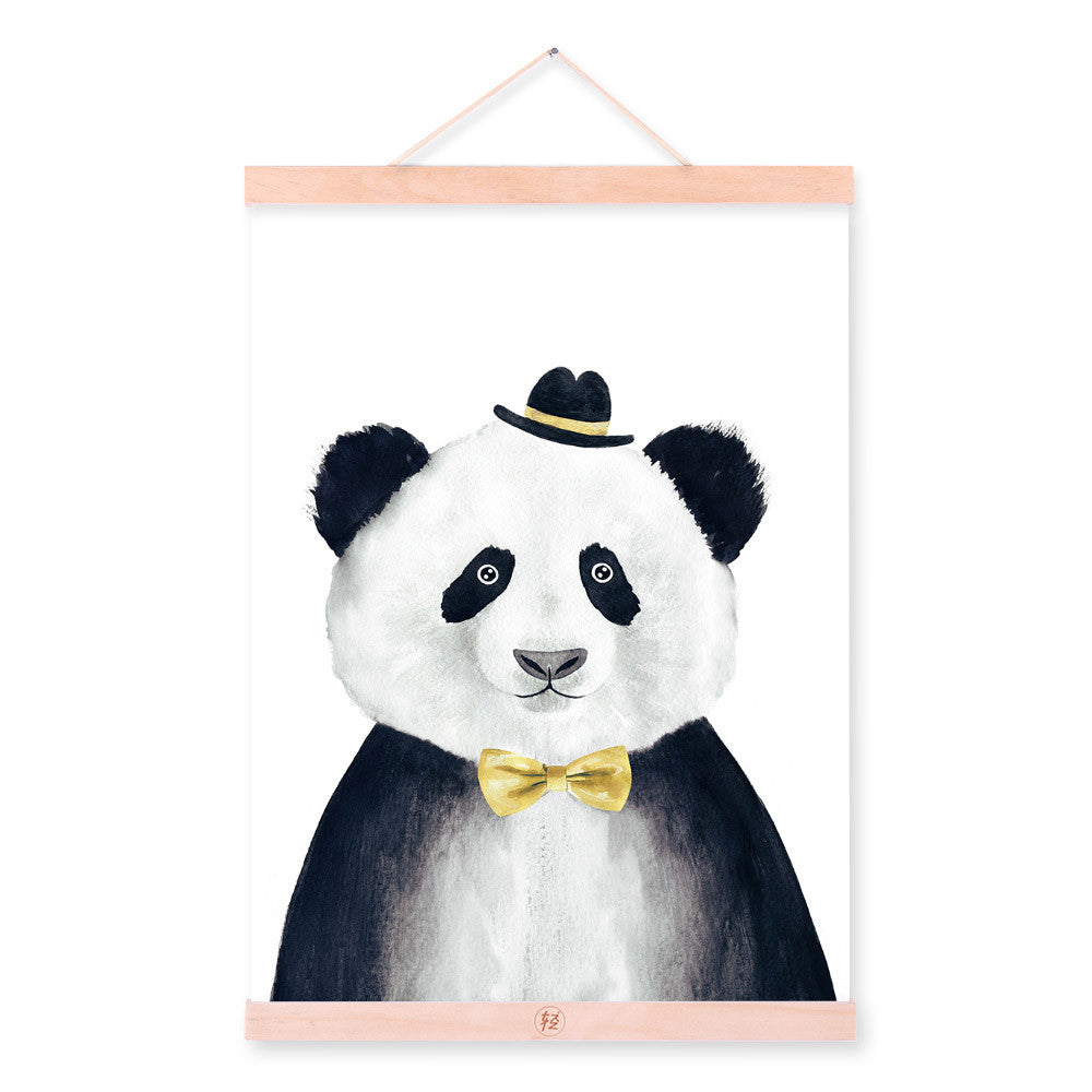 Modern Watercolor Nordic Kawaii Animal Panda A4 Framed Canvas Painting Wall Art Prints Pictures Poster Kids Room Home Decoration