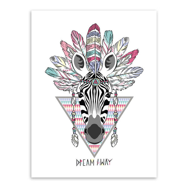 Modern Indian Hippie Fashion Animals Head Deer Horse Zebra A4 Art Print Poster Wall Pictures Canvas Painting Home Decor No Frame